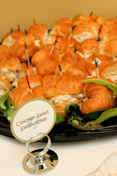 Baby shower food table - Chicken salad sandwiches on croissants I am pinning this because chicken salad with lettuce and avocado or curry chicken salad have been massive pregnant cravings for me! by Prettystuff