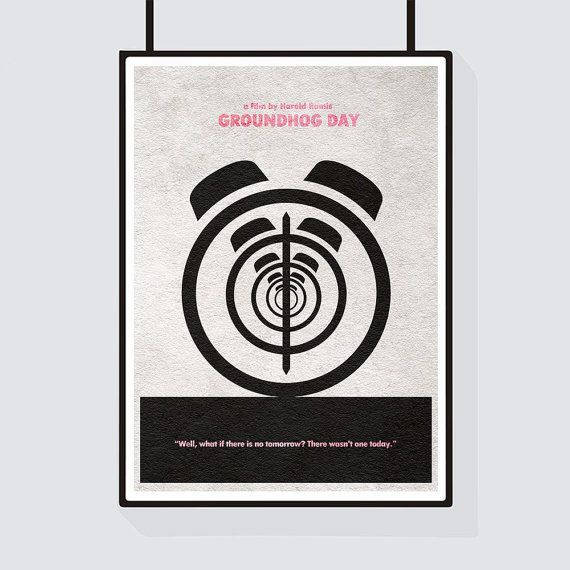 Minimal and alternate movie poster for the cult film Groundhog Day. This could make a creative gift idea to be used in wall decor for any movie buffs or people who love minimalist and modern pop art.