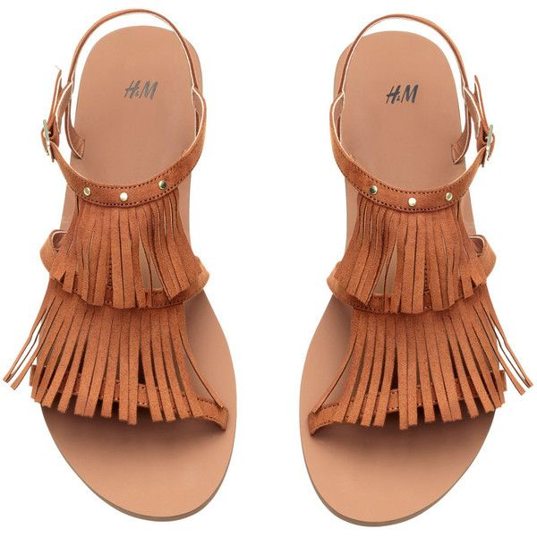 Sandals with Fringe $24.99 (880 THB) ❤ liked on Polyvore featuring shoes, sandals, strappy sandals, strap sandals, strappy shoes, rubber sole shoes and fringe shoes
