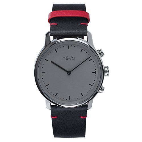 EMIE Nevo Balade Parisienne Urban Minimalist Analog Smart Watch with Stainless Steel Case Genuine Leather Strap Activity Tracker Step Counter Sleep Monitor  Mobile App Android  iOS Saules * Learn more by visiting the affiliate link Amazon.com on image.