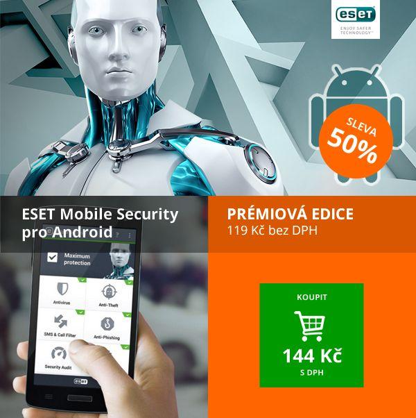 Tento týden ESET Mobile Security s 50% slevou: https://www.antivirovecentrum.cz/katalog/antivirove-programy/eset-nod32-a-eset-smart-security/eset-mobile-security-1-4-licence/licence-pro-noveho-uzivatele-pocet-licenci-1-4-platnost-1-rok/nodmob001u1n.aspx