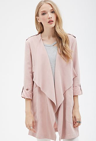 Faux Suede Draped-Front Jacket | Forever 21 - 2000081844