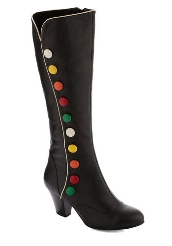 Candy Kick Boot by Lola Ramona - Black, Multi, Solid, Buttons, International Designer, Mid, Leather, Best, Fall
