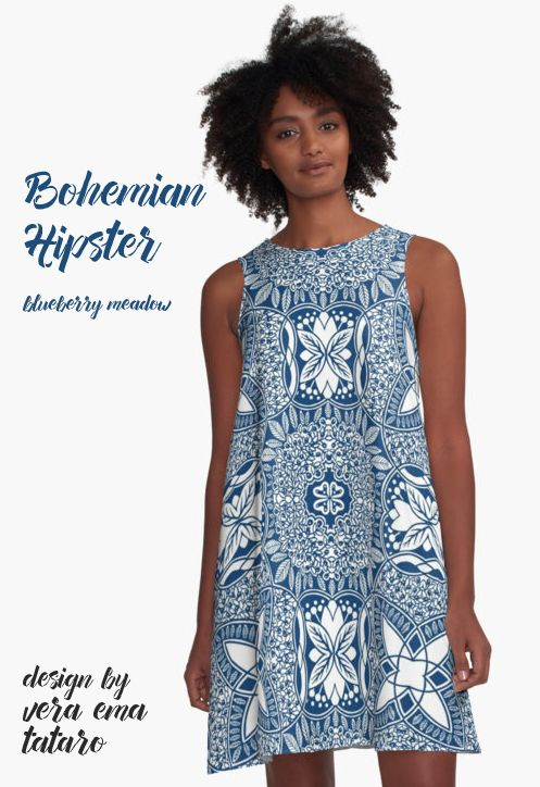 Bohemian Hipster - pattern Blueberry meadow by Vera Ema Tataro