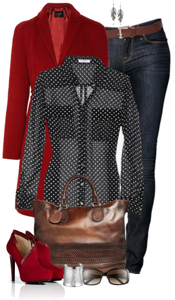 Add a cami under the sheer blouse and lower the red heel a bit, and this is a perfect fall/winter outfit!