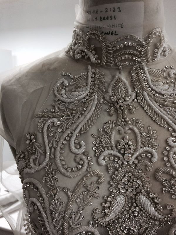 .Bead & crystal embellished dress detail, couture embroidery, sewing inspiration // Catherine Deane AW14