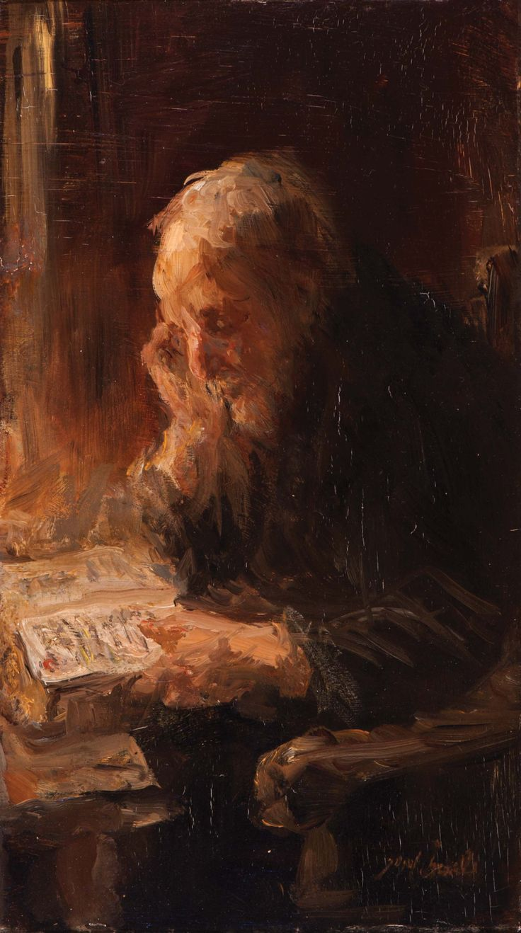 Bijbel-lectuur / Bible-reading, ca 1895, Jozef Israëls. Dutch (1824 - 1911) - Oil on Panel -