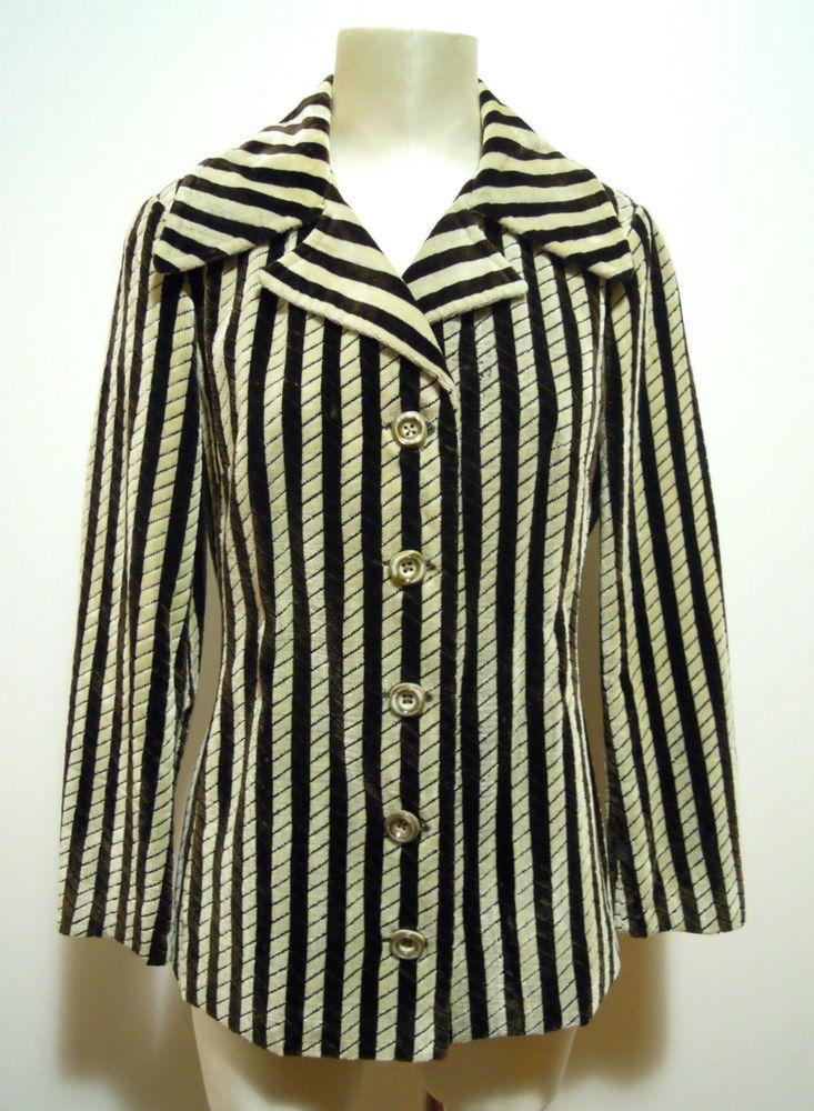 ROBERTA DI CAMERINO VINTAGE '70 Giacca Donna Velluto Woman Velvet Jacket Sz.L