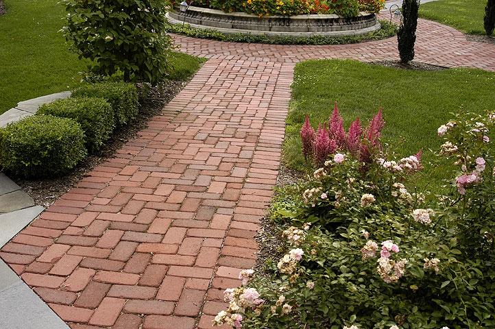 Brick Laid In A Herringbone Pattern Gardening Walkways