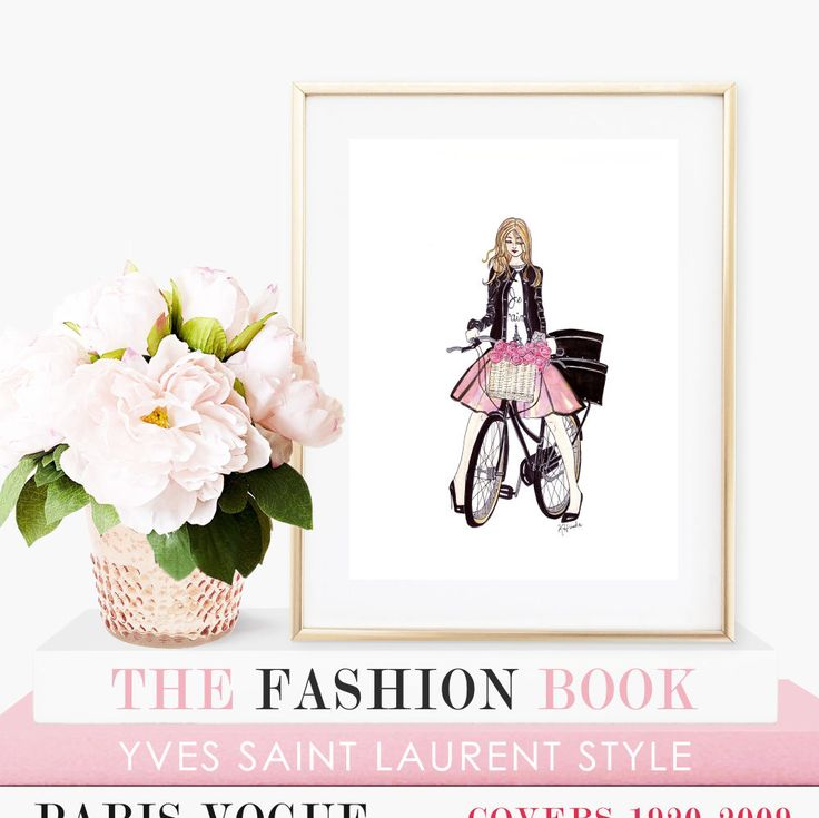"""Je T'aime Spring - Prints - 8""""x10"""" - Various Sizes - Wall Art - Gifts for her - Spring Art - Blush Pink - Parisian Art - Girl on a Bicycle by KristinaHerediaArt on Etsy"""