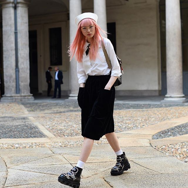 Schoolgirl chic: Model Fernanda Ly @warukatta after the Giamba show today. Photo by @gastrochic #MFW #streetstyle #fashion