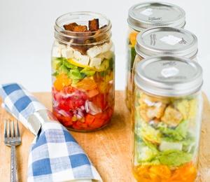 Vegan Cobb and Caesar Salads in a Jar.