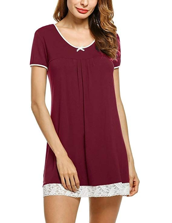 7f245ec17055 HOTOUCH Womens Cotton Nightshirts Light Weight Night Gown Nursing Shirts  Wine Red M
