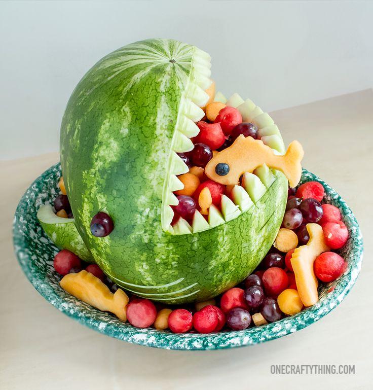 A Watermelon Fruit Shark  #potluck #carving #easywatermelon