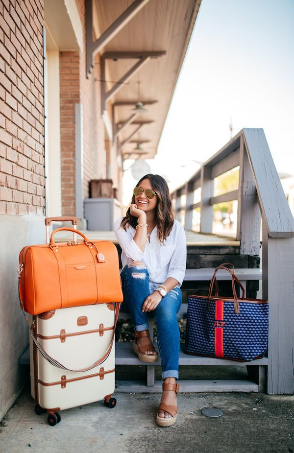 haute off the rack, travel style, the best travel jeans, cute carry on bags, best travel bags, flatform sandals, white button down, comfortable travel style, cognac wedges, women's fashion, travel outfit, @henribendel carry on bag, @barringtongifts tote,