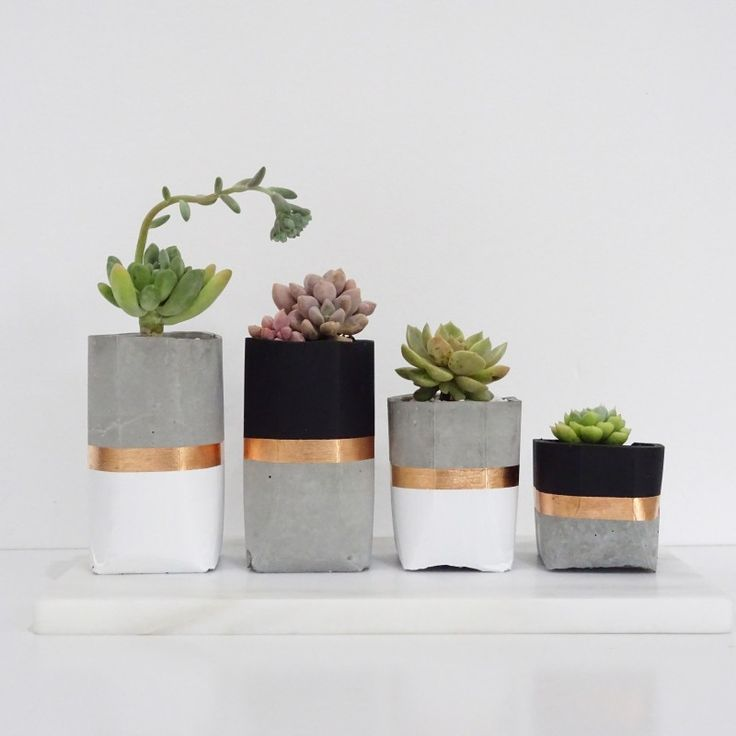 concrete, white, black and copper succulent holders