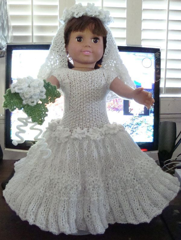 Free 18 Inch Knitted Doll Clothes Patterns : free pattern Ladyfingers - AG doll - Wedding Gown, Veil, Garter, Bridal Bouqu...