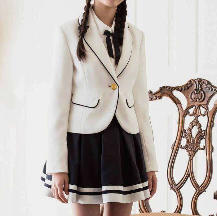 女の子 ブレザー 白 ファッションアイデア ファッション レディース ファッション
