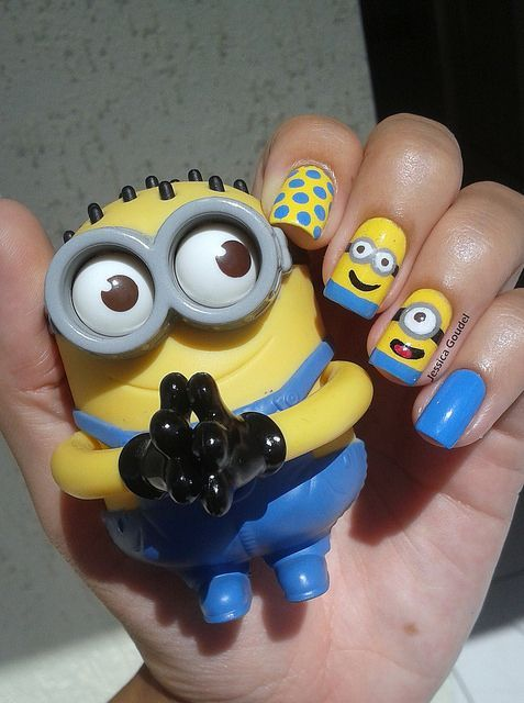 37+Pretty+And+Beautiful+Cartoon+Nail+Art+Designs