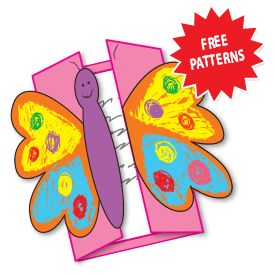 FREE Cute Butterfly Pattern~ Students use pattern to create a card or report that opens in the middle. Great for Mothers Day or any spring-themed activity!
