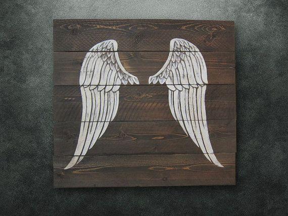 Rustic Angel Wings Whitewash Wall Art