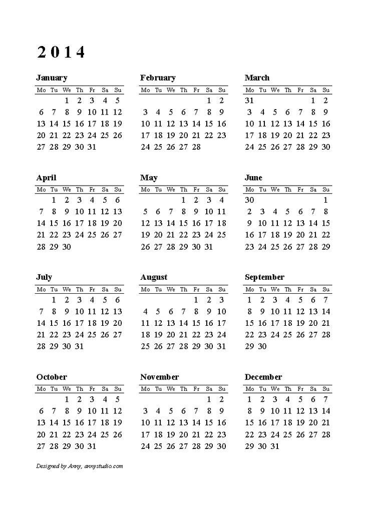 Calendar 2014 Printable One Page | Printable calendars 2014, calendars 2015 and calendars 2016. Download ...