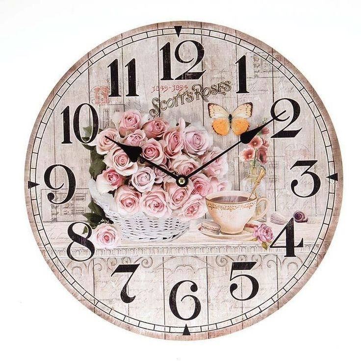 Ρολόι τοίχου MDF «Ροζ Τριαντάφυλλα»
