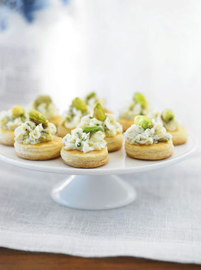 Cocktail Party Central: Pistachio & Chive Goat Cheese on Puff Pastry Wafers