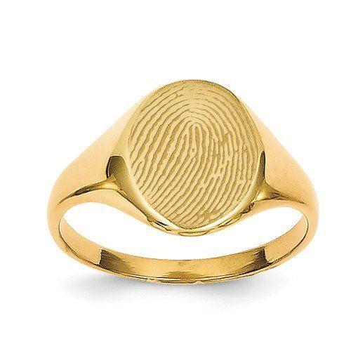 Small Womens Custom Oval Fingerprint Signet Ring - PG86409 - womens jewelry box, jewelry womens rings, womens jewelry box