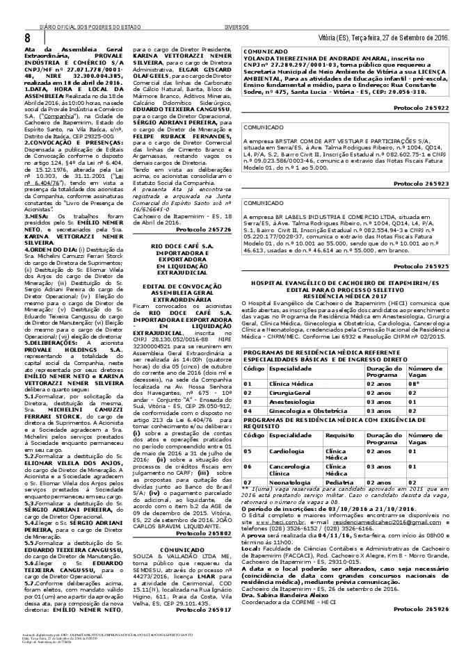 Visualização do Diário Oficial do Estado do Espírito Santo