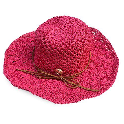 b21e6b94f81 ICSTH Womens Floppy Summer Sun Beach Braided Straw Hat UPF50 Foldable Wide  Brim Sun Hat MZD4012
