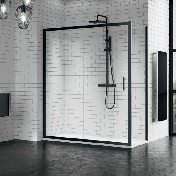 Novellini Zephyros 2p Sliding Shower Door 1200 Black Finish
