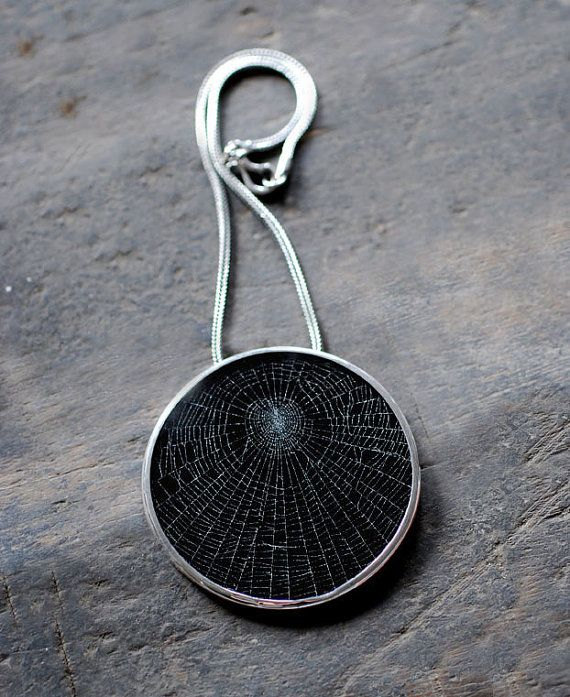 REAL spider web under glass! sunning necklace!