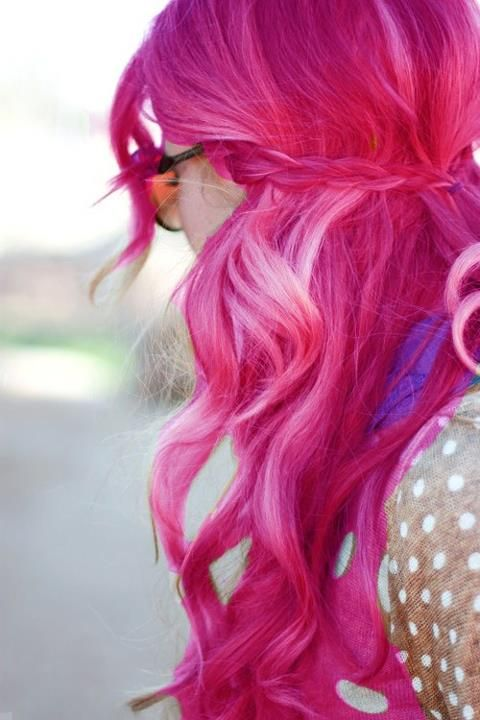 long bright pink #hair #dyed #coloured