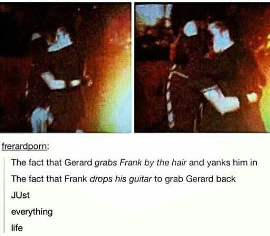 My Chemical Romance ~ Frerard If you're in the MCRmy, you know that Frank drops his guitar for nothing but Gee