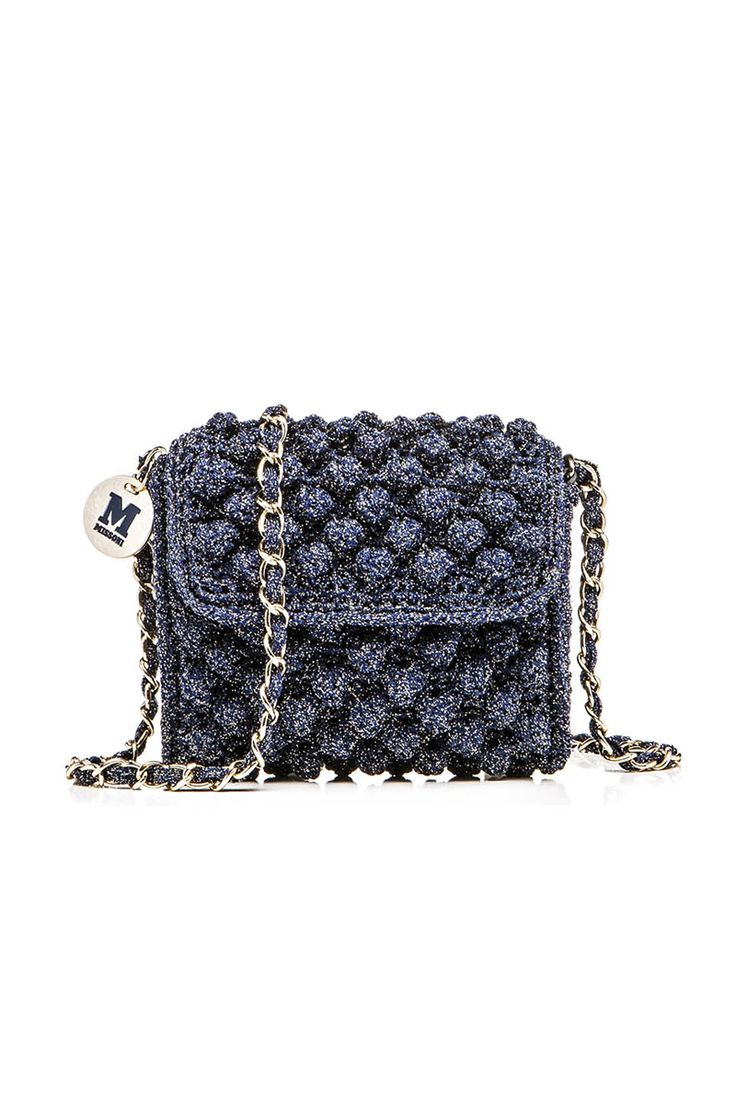 MINI BORSA RAFIA IN LUREX BLU NOTTE | M Missoni