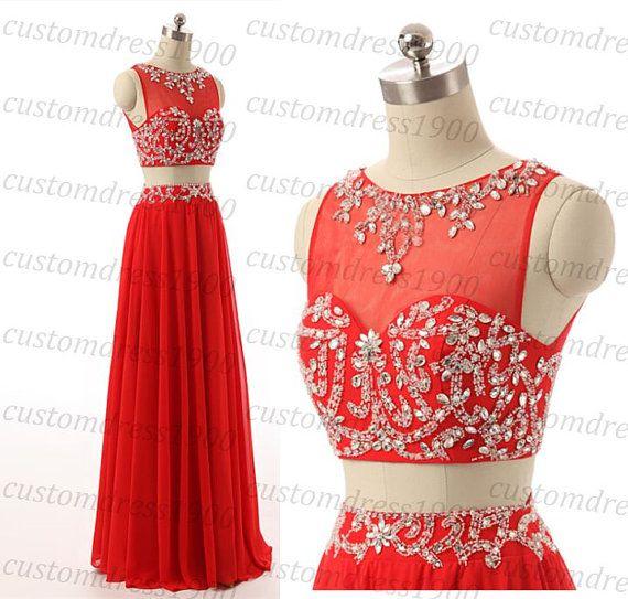 Red Cap Sleeve Two Pieces Bridesmaid DressLong von customdress1900