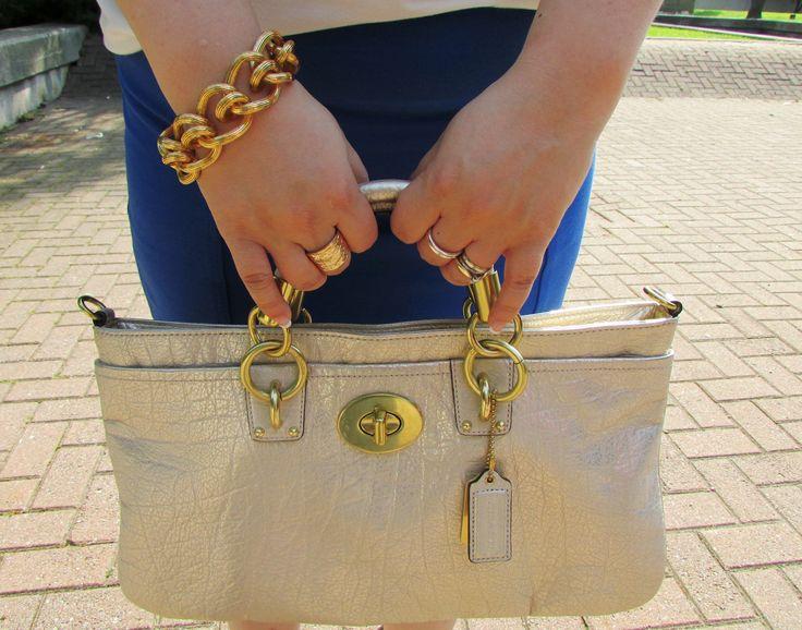 Coach purse, Coach chain bracelet and Smart Set ring