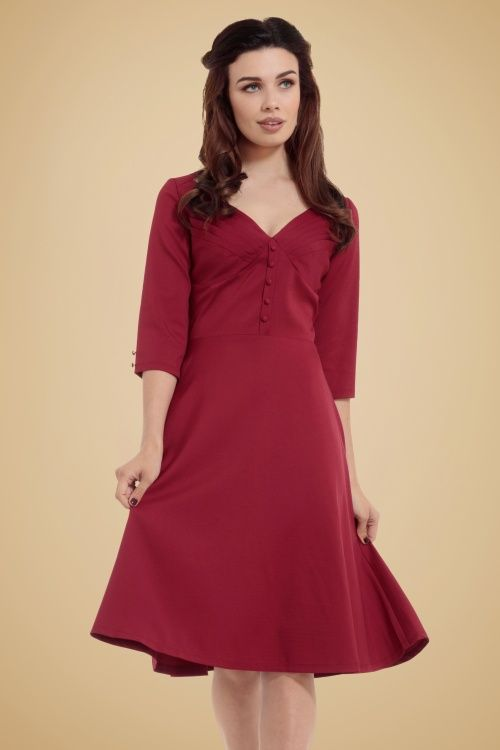 Vixen Red A line Dress | topvintage.nl