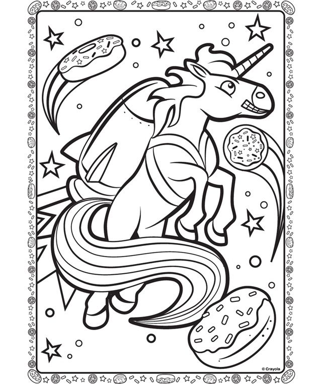 Unicorn In Space on crayola.com | Space coloring pages ...