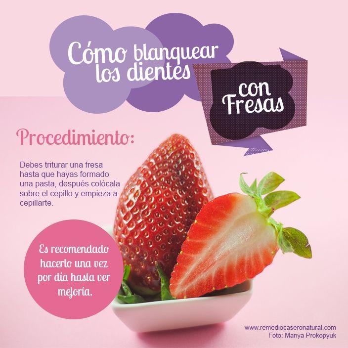 Cómo blanquear los dientes usando fresas. #remedios #fresas #dientes