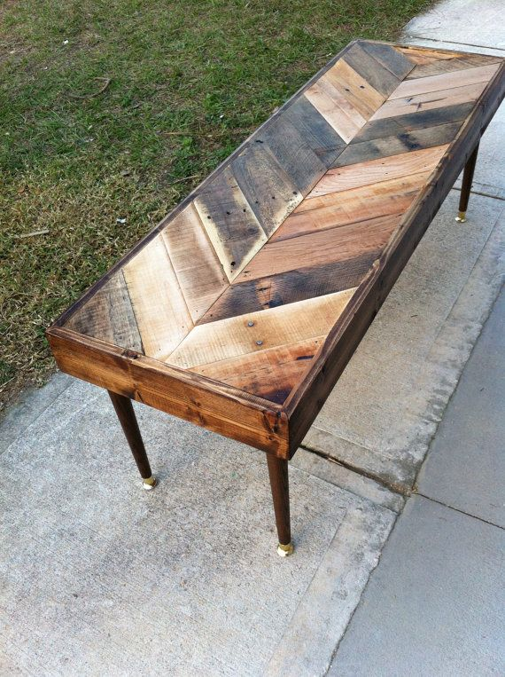 Reclaimed Chevron herringbone pallet barnwood side, entry way foyer loft console coffee sofa table.  Modern eames peg legs.