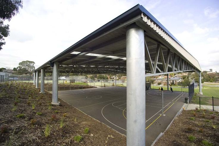 Structural steel buildings for covered court areas for schools and recreation facilities.