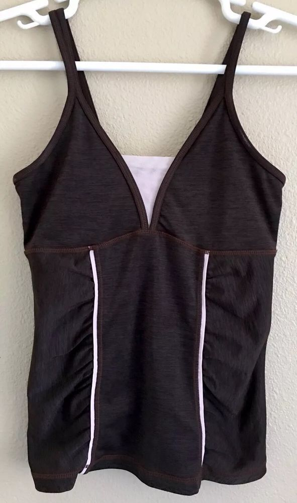 84fcd98d30c7c4 zella women s Athletic Yoga Running Sport Tank Top Built In Bra S Brown   fashion  clothing  shoes  accessories  womensclothing  activewear (ebay  link)
