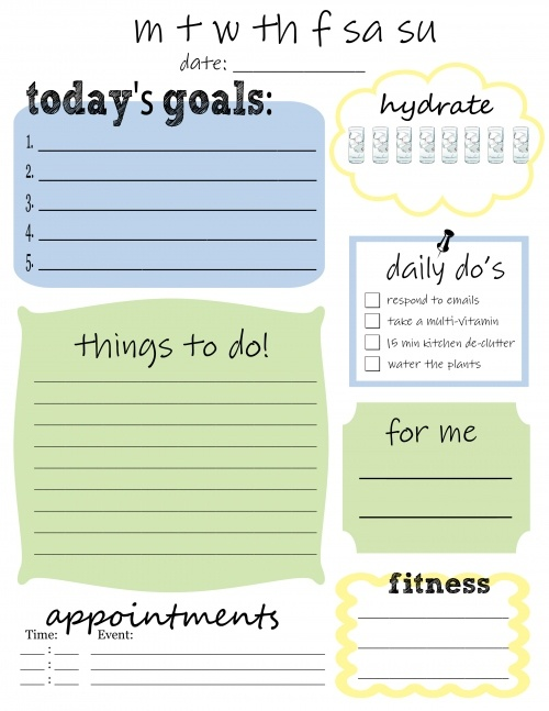 Printable Daily Do's (things to do, goals, and even water intake)