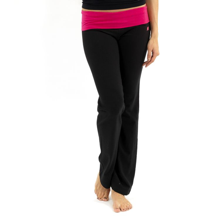 New Balance Fold Over Lounge Pants – Black/Bright Rose