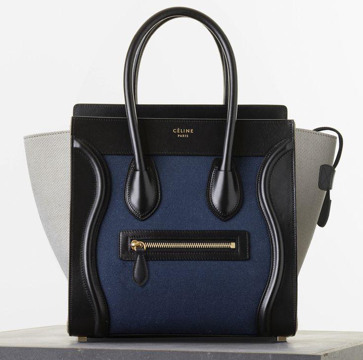 Celine Micro Luggage Handbag in Navy Multicolour