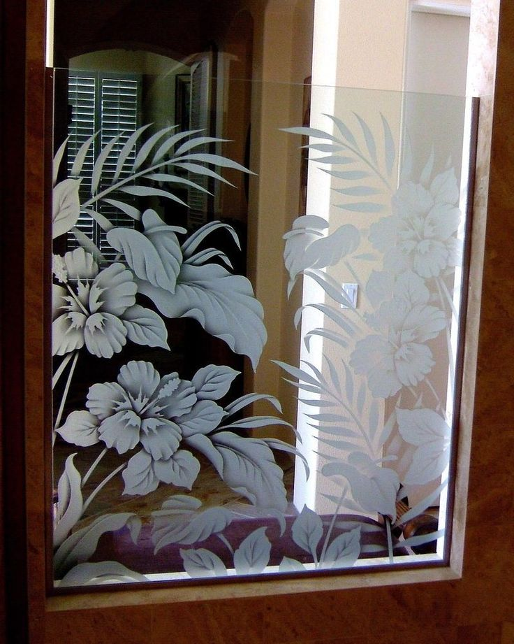 Hbscs Bty Gls Shower Panels Etched Glass Tropical Design Sans Soucie turns ordinary glass shower panels into custom showers with etched glass art!