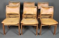 John Makepeace OBE, a set of 6 fruitwood leather bound dining chairs with concave seats, raised on square legs with ball feet,  stamped John Makepeace Workshops, Norman Illingworth 1981 SOLD FOR £340