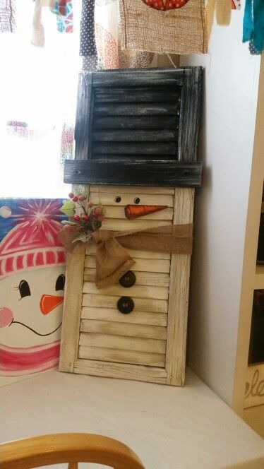 Snowman shutters by Canvas Precision.